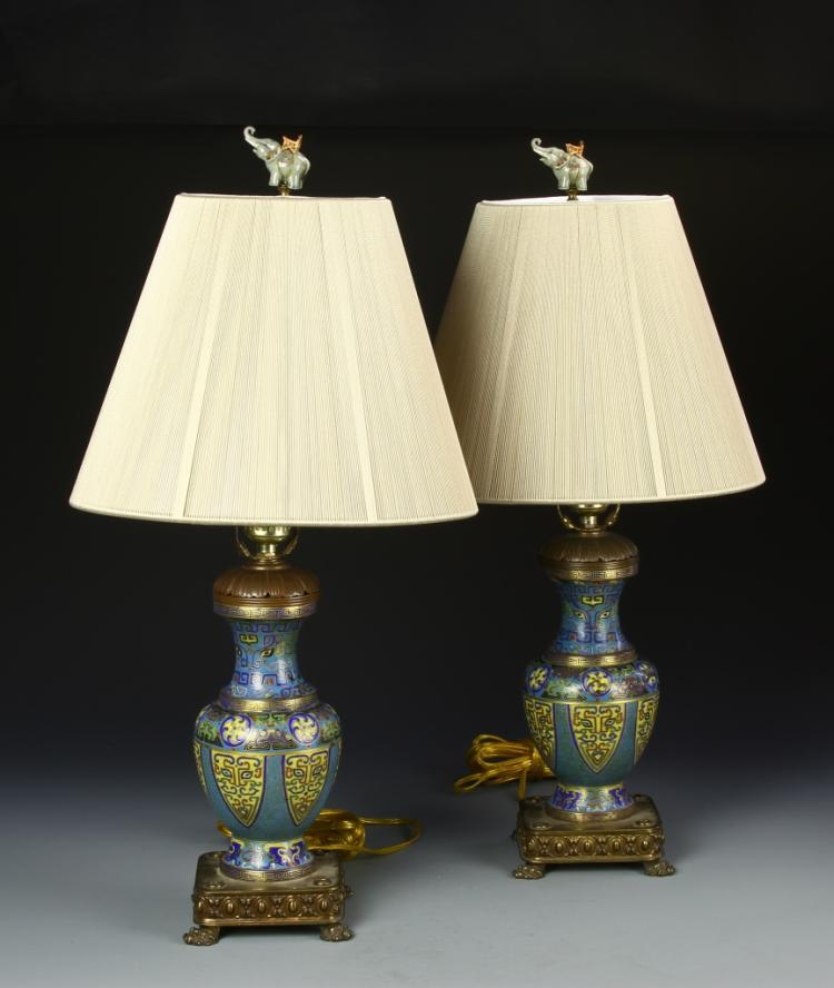 Pair Of Chinese Cloisonne Converted Lamps