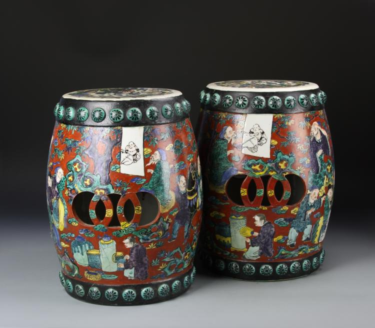 Pair Of Chinese Garden Stools