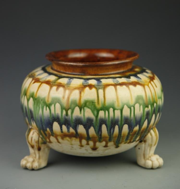 Chinese Sancai Tripod Jar