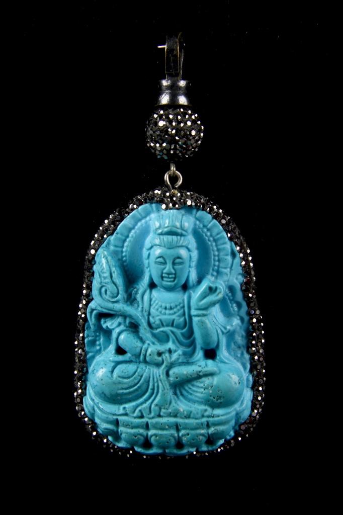 Chinese Turquoise Stone Buddha Pendant