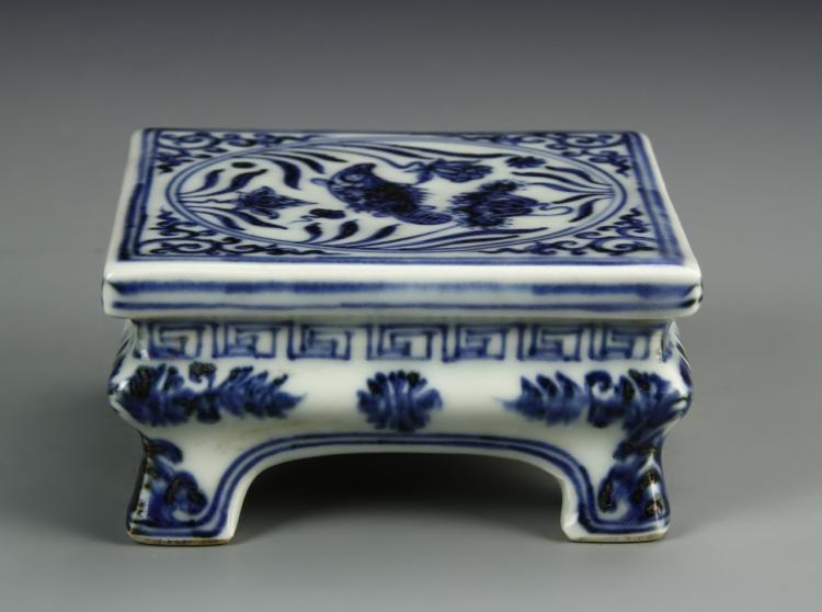 Chinese Antique Blue And White Ink Bed