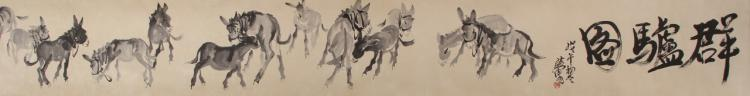 Chinese Scroll Painting of Donkeys
