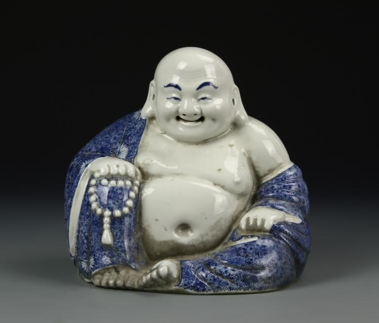 Chinese Blue And White Luohan Figure