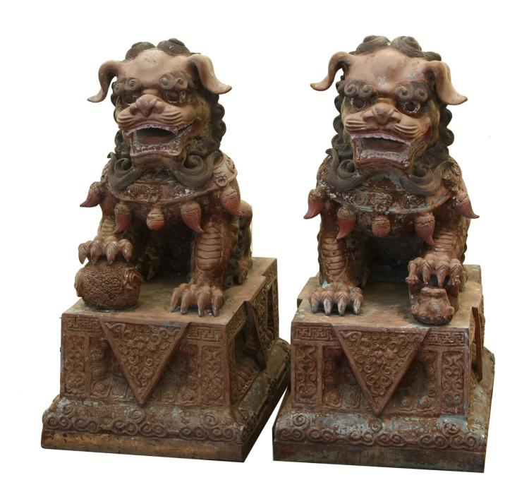 Pair Of Chinese Antique Bronze Foo Lions