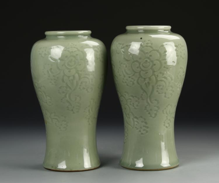Pair Of Celadon Vases