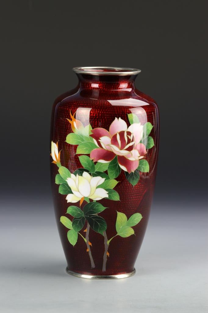 Japanese Enameled Silver Vase