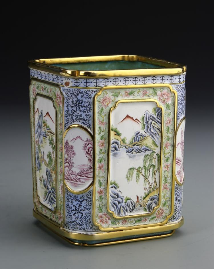 Chinese Enameled Copper Square Brush Pot