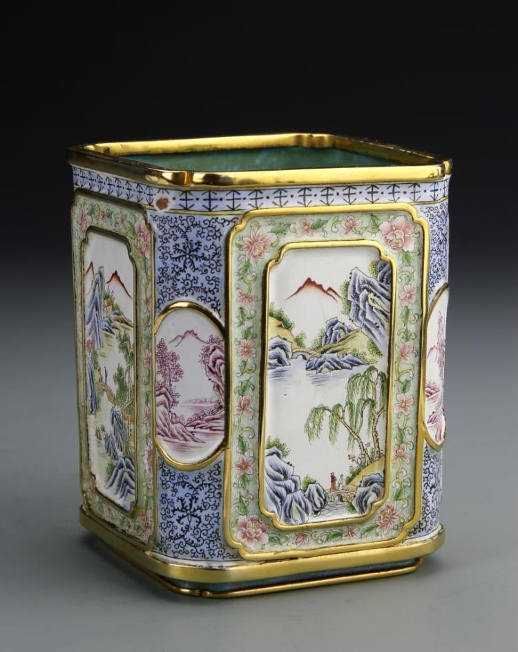 Chinese Enameled Copper Square Brush Pot