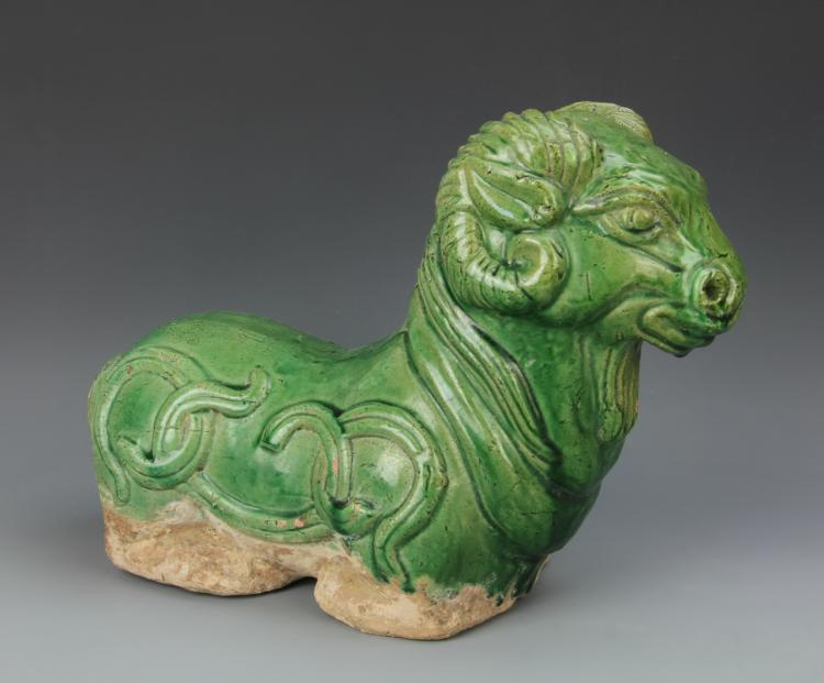 Chinese Green Glazed Ram