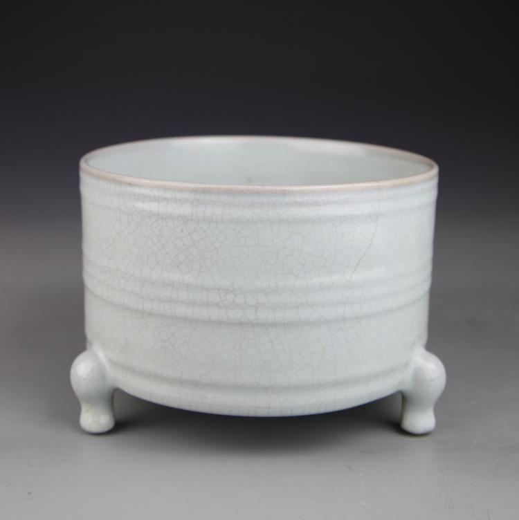 Chinese Ru Yao Tripod Censer
