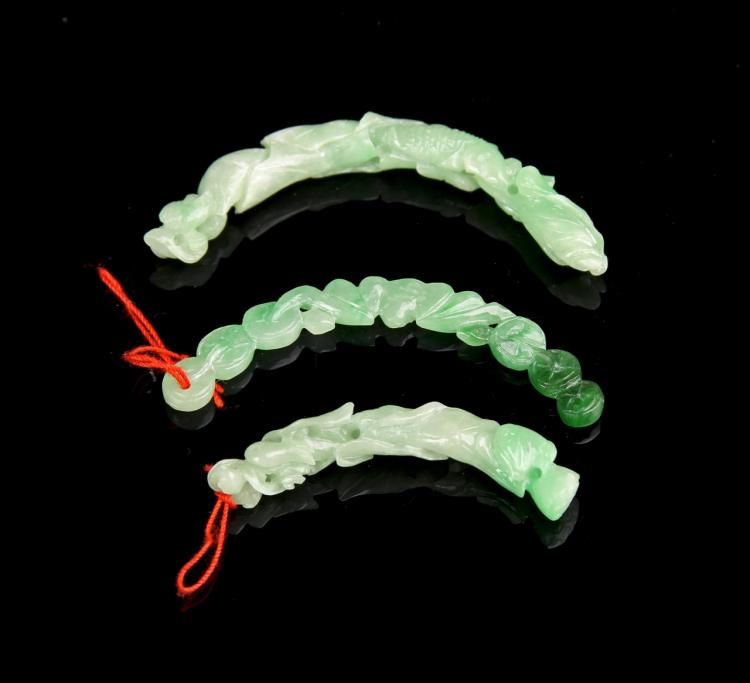 Three Chinese Jadeite Pendants