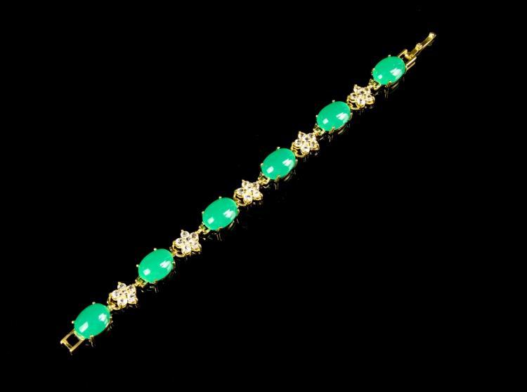 Chinese Jadeite Gilt Bracelet