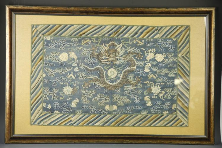 Chinese Framed Silk Kesi Dragon Panel