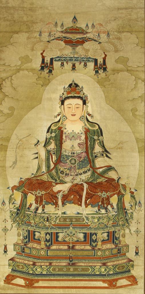 Chinese Scroll Painting Of Buddha