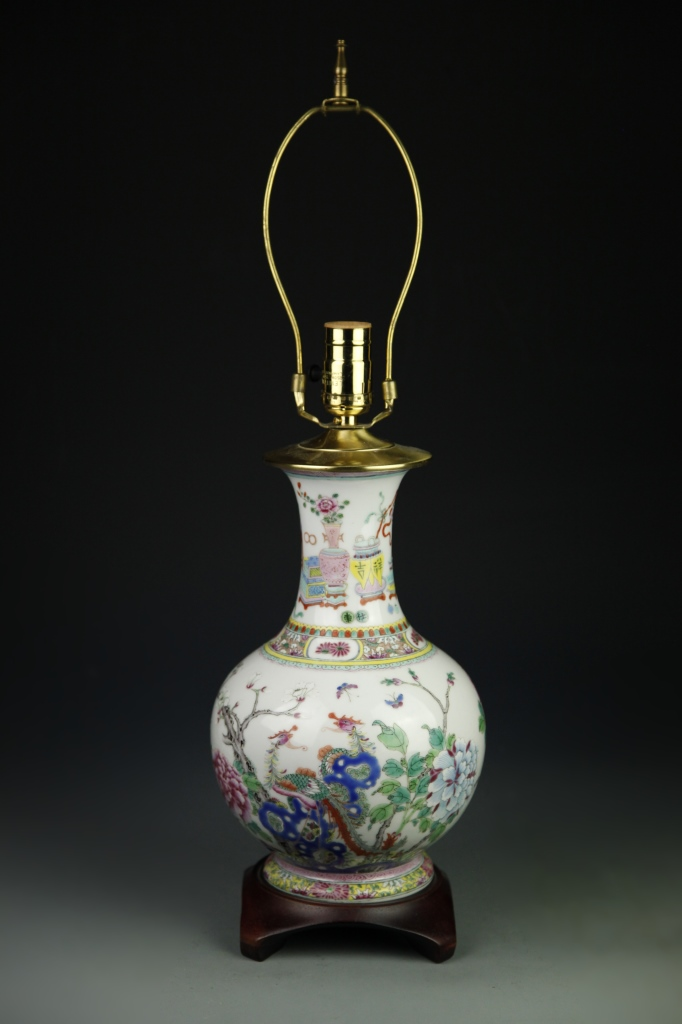 Chinese Famille Rose Vase Converted Lamp