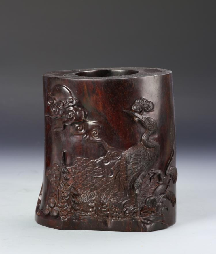 Chinese Zitan Floral Brush Pot