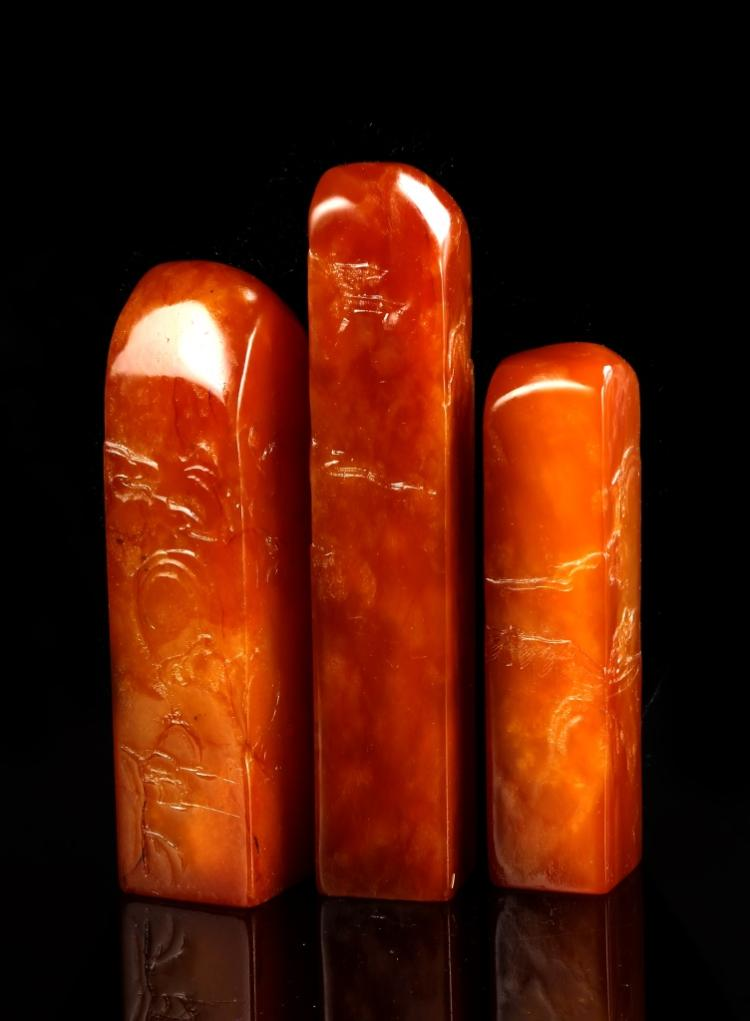 Three Chinese Tianhuang Stone Seal Chops