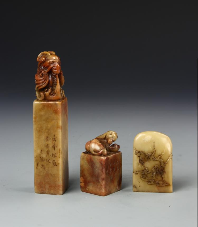 Chinese Three Shoushan Stone Seal Chops