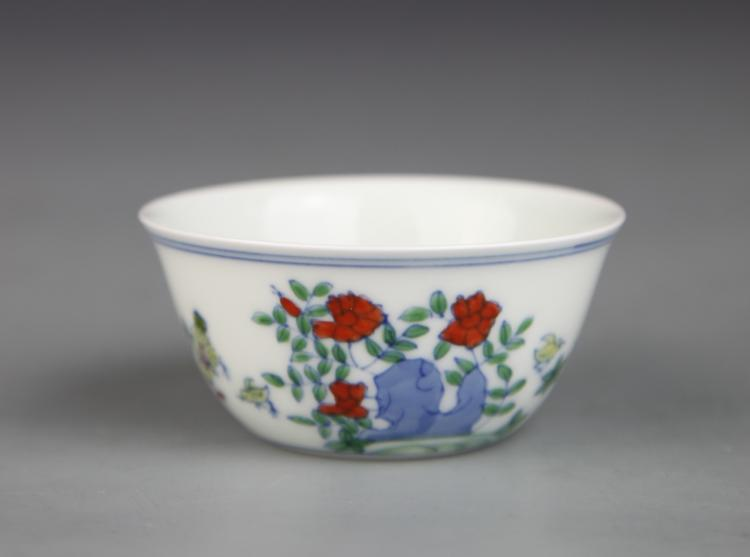 Chinese Doucai Rooster Bowl
