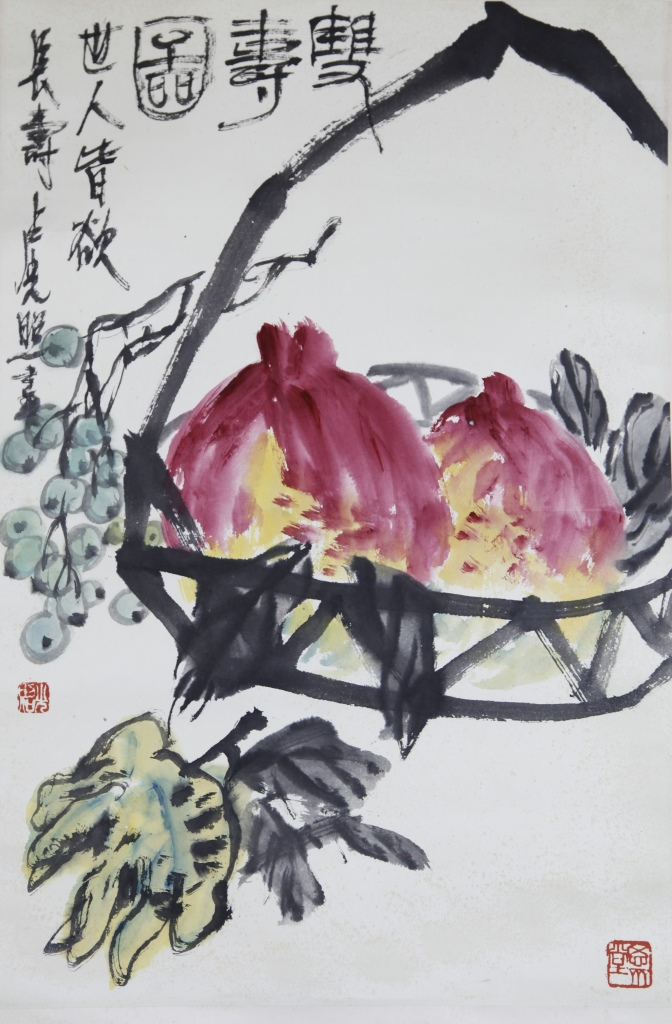 Chinese Scroll Painting Of Peaches