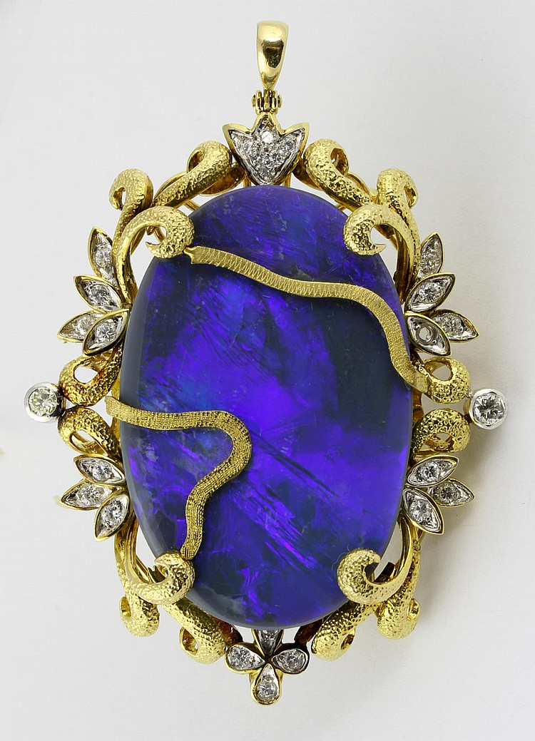 Black Opal and Diamond Pin/Pendant