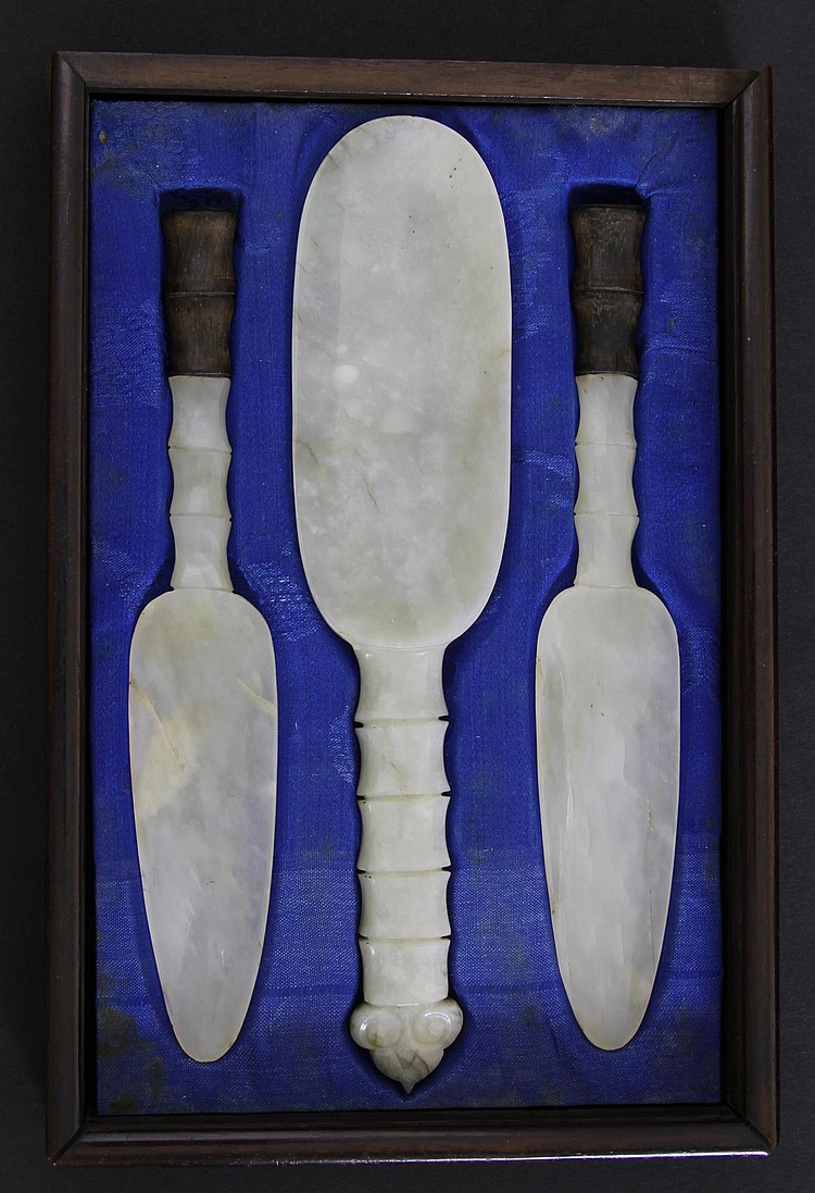 Three Chinese Carved Jade Spoons