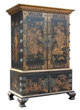 Large Chinese Lacquer Hardwood Cabinet