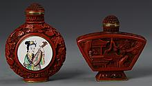 Two Chinese Cinnebar Snuff Bottle