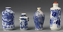 Four Chinese Blue And White Snuff Bottles