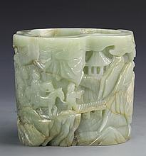 Chinese Hetian Jade Carved Brush Pot with Incised