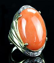 Chinese Gold and Coral Ring