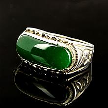 Chinese Jadeite and Platinum/Silver Ring