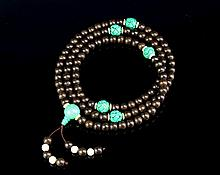 Chinese Black Chenxiang-Turquoise Prayer Beads