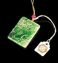 Chinese Emerald Green Jadeite Pendant