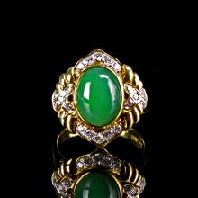 Chinese Jadeite And 18K Gold Ring