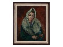 """Adolf Büger (1885-1966),""""Girl in grey fur"""" 1948  Adolf Büger (1885-1966), """"Junges Mädchen im grauen Pelz"""", um 1948"""