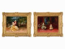 """Salvador Sánchez Barbudo, Gallant Scenes, 2 Paintings, 1915  Salvador Sánchez Barbudo, """"Galante Szenen"""", 2 Gemälde, 1915"""