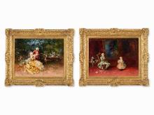 Salvador Sánchez Barbudo, Gallant Scenes, 2 Paintings, 1915