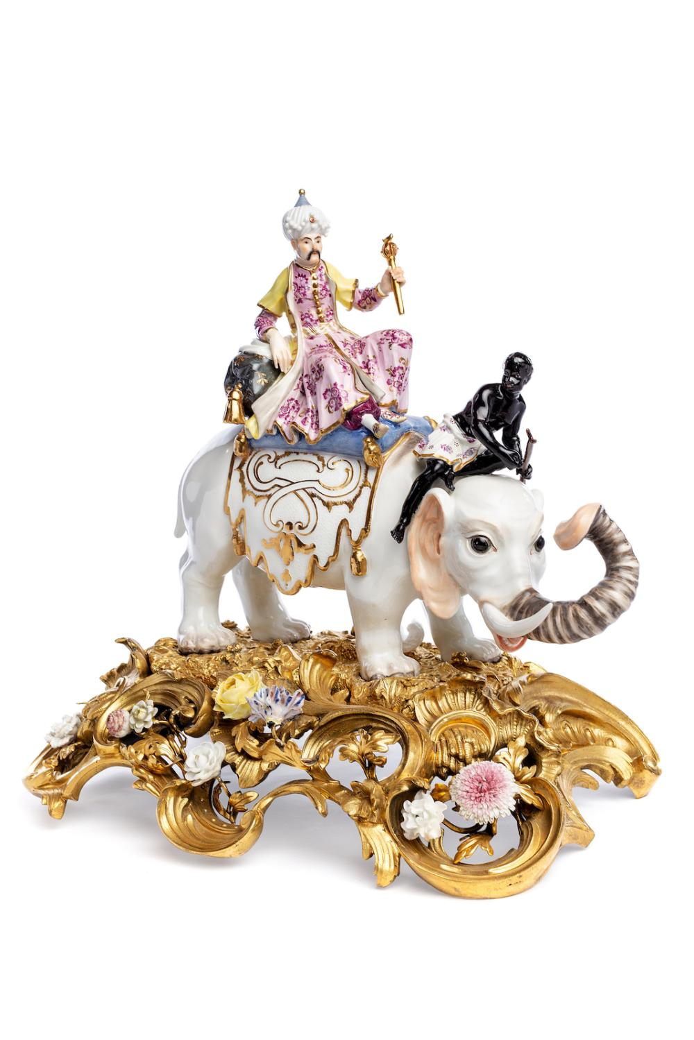 "Very magnificent porcelain group ""Sultan on Elephant"" Meissen 1741-49 