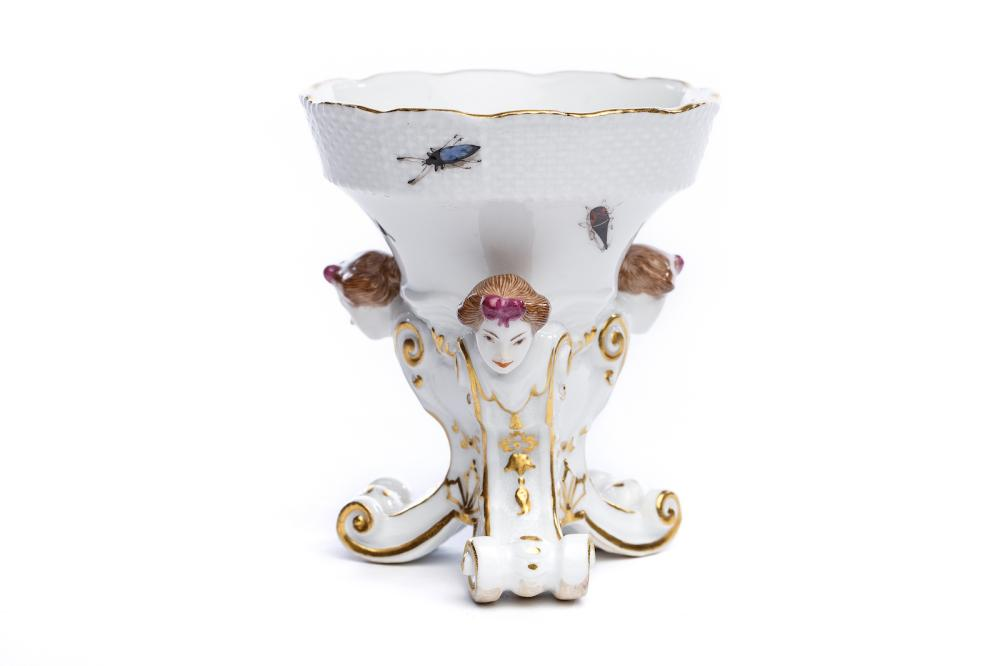 "Three-legged spice bowl ""Insects"", Meissen 1740 