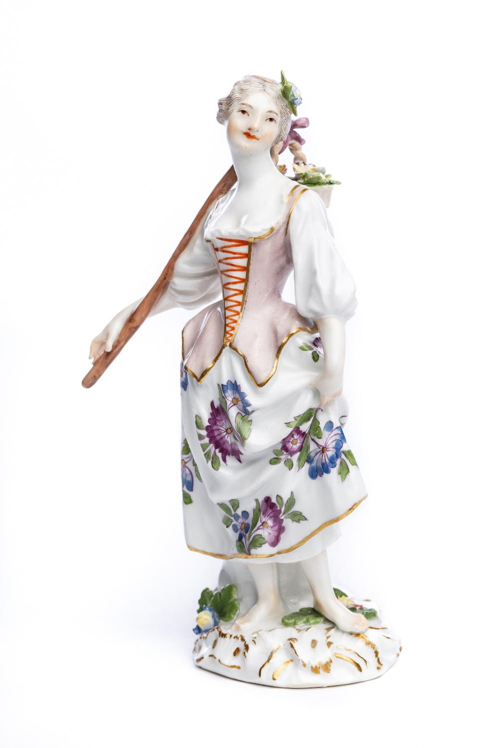 "Porcelain figure ""Gardener with rod and flower basket"", Meissen 1750 