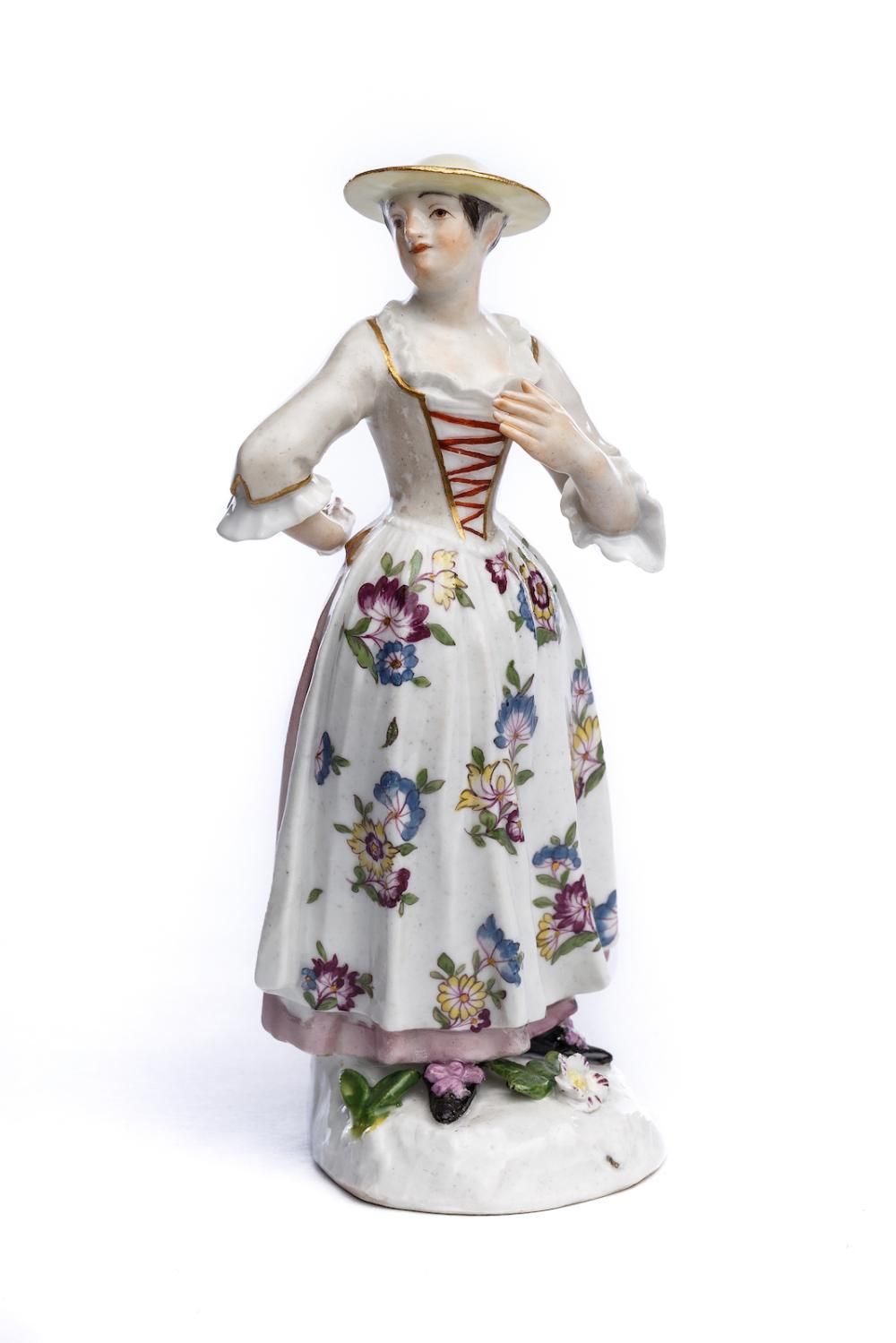"Porcelain figure ""Lady with Tyrolean hat"", Meissen 1750 