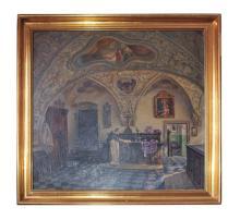 "Sacristy of the Dominican Church Graz | Adolf Wiesler(1878-1958) ""Sakristei der Dominikaner Kirche Graz"""