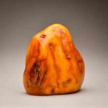 Marble yellow color Baltic Amber stone (616 g.)