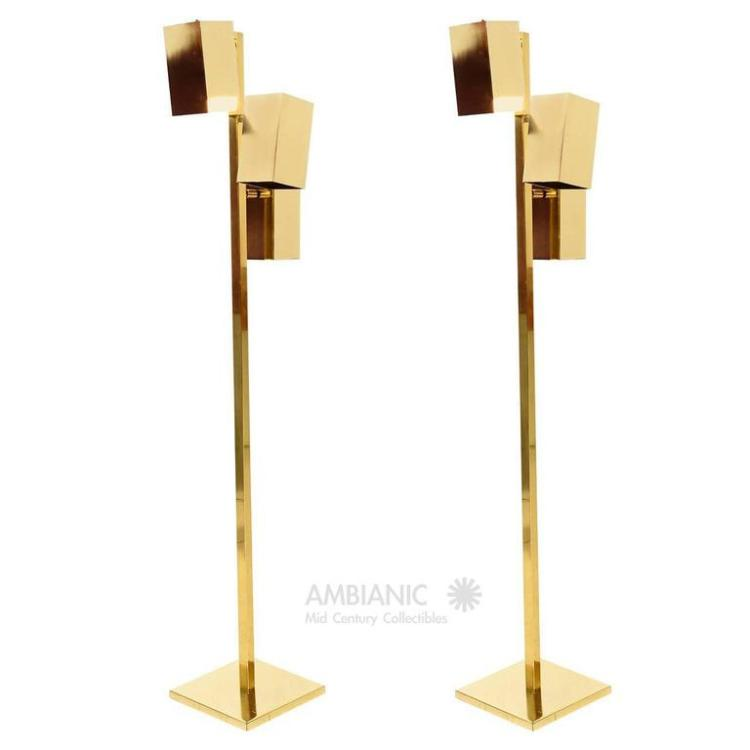 Brass Floor Lamp Mid Century: Pair Of Brass Koch & Lowy Floor Lamps, Mid Century