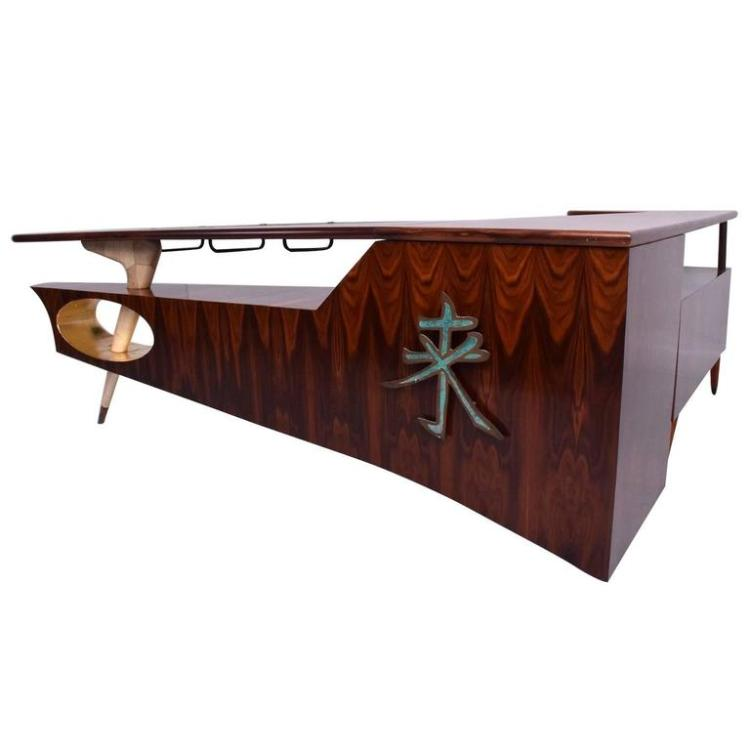 Modernist Rosewood Desk Bar With Mendoza Hardware