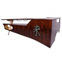 Modernist Rosewood Desk/Bar with Mendoza Hardware
