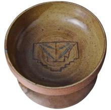Vintage Ceramic Pottery Dish Signed MC Mid-Century