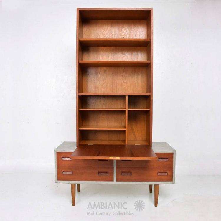 Danish modern cabinet with hutch teak for Modern teak kitchen cabinets