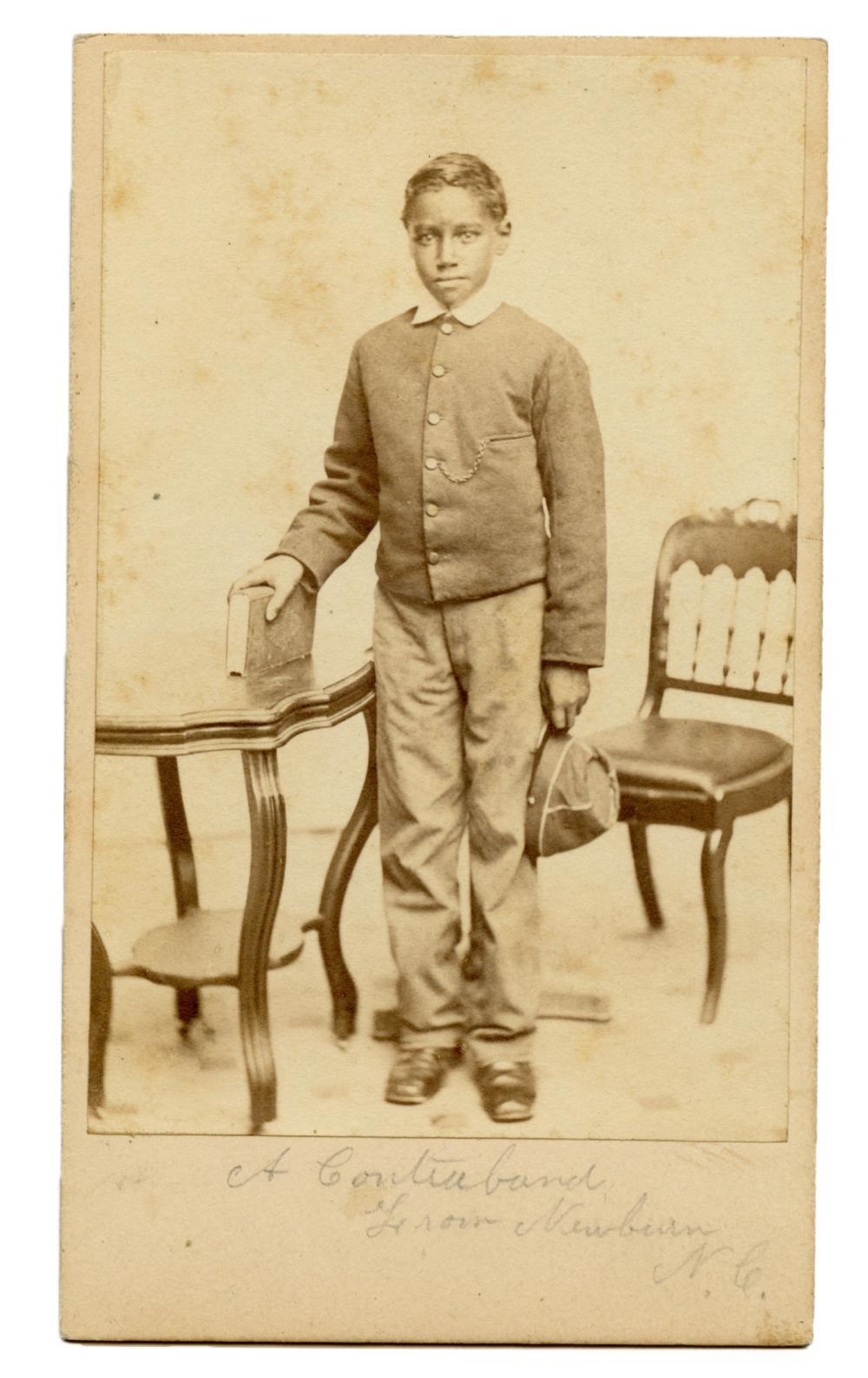 "CDV PHOTO OF FREED SLAVE ""CONTRABAND"" YOUNG MAN"